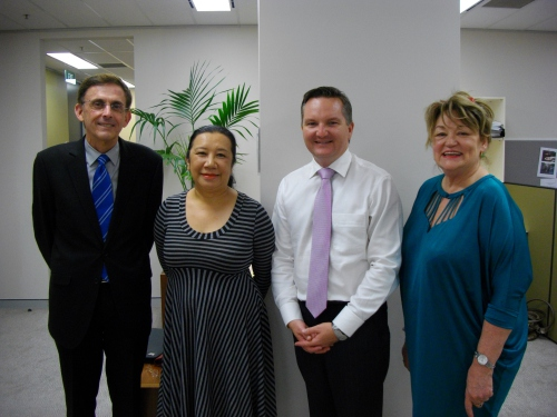 Kevin-Lane-Angela-Chan-and-Maurene-Horder-with-Labor-Minister-Bowen.JPG